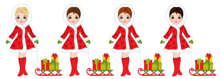 Vector Beautiful Young Girls with Sledges and Christmas Gifts. Vector beautiful young girls with various hair colors. Vector girls with sledges and gifts Royalty Free Stock Photo