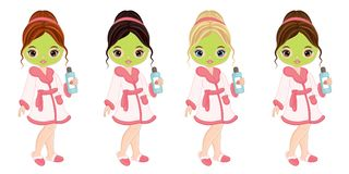 Vector Beautiful Young Girls Taking Face Treatment in Spa royalty free illustration