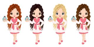 Vector Beautiful Young Girls Taking Spa Treatment. Vector beautiful girls with various hair colors. Spa girls vector illustration Royalty Free Stock Image