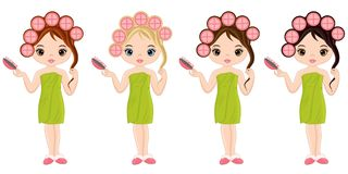 Vector Beautiful Young Girls Taking Spa Treatment royalty free illustration
