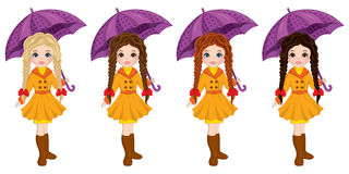 Vector Beautiful Young Girls with Umbrellas. Vector beautiful young girls with various hair colors. Vector cute girls with umbrellas. Autumn girls vector Royalty Free Stock Photography