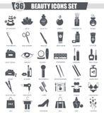 Vector Beauty and cosmetics black icon set. Dark grey classic icon design for web. Stock Image