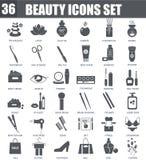 Vector Beauty cosmetics black icons set. Dark grey symbols on white background. Stock Image