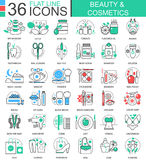 Vector Beauty cosmetics flat line outline icons for apps and web design. Beauty cosmetics tools icon. Royalty Free Stock Photography