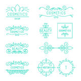 Vector beauty and cosmetics logos. And labels in trendy linear style - organic and natural badges and icons Royalty Free Stock Photo