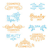 Vector Beauty and Cosmetics Logos. And labels in trendy linear style  organic and natural badges and icons Royalty Free Stock Photo