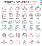 Vector beauty and cosmetics ultra modern color outline line icons for apps and web design. Royalty Free Stock Image