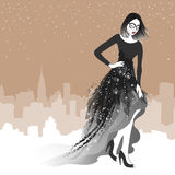 Vector beauty in evening dress on a background of the city Stock Photo