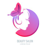 Vector beauty logo, label design elements. Woman face symbol. Royalty Free Stock Images