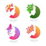 Vector beauty logo, label set. Female face in circle shape. Woman with butterflies, flowers and leaves in hair. Design elements for beauty salon, massage, spa Royalty Free Stock Images