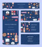 Vector beauty or makeup brand identity set with banner vector illustration