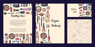 Vector beauty or makeup brand set with flyer or card, business card templates and pattern. Vector beauty or makeup brand identity set with flyer or card vector illustration