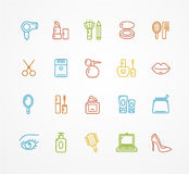 Vector beauty outline icon set Royalty Free Stock Image