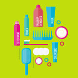 Vector beauty products illustration set in flat style Stock Photography