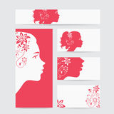 Vector beauty salon card with woman wearing colorful wig Stock Images