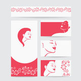 Vector beauty salon card with woman wearing colorful wig Royalty Free Stock Images