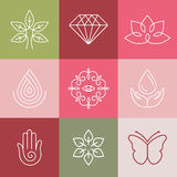 Vector beauty and spa line logos Royalty Free Stock Photography