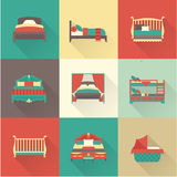 Vector bed icon set Royalty Free Stock Images
