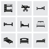 Vector bed icon set Royalty Free Stock Photography