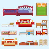 Vector bed icon set interior home rest collection sleep furniture comfortable night illustration. Stock Photography