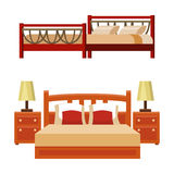 Vector bed icon set interior home rest collection sleep furniture comfortable night illustration. Royalty Free Stock Photos
