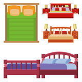 Vector bed icon set interior home rest collection sleep furniture comfortable night illustration. Stock Images
