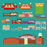 Vector bed icon set interior home rest collection sleep furniture comfortable night illustration. Royalty Free Stock Image