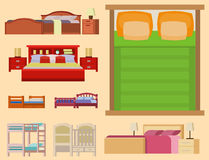 Vector bed icon set interior home rest collection sleep furniture comfortable night illustration. Royalty Free Stock Images