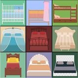 Vector bed set. Collection different types of beds. Vector illus Royalty Free Stock Photography