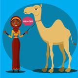 Vector - bedouin woman walking, leading a camel. Flat surprised business woman throwing up his hand. Stock Photos