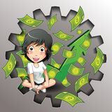 Vector bedrijfs en geldspel stock illustratie