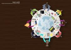 Vector bedrijfs het werkplaatsen, groepswerk, brainstorming, bedrijfsanalyse, marketing plan, een kaart van de wereld, document m Royalty-vrije Stock Foto's