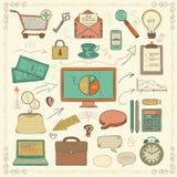 Vector Bedrijfs Uitstekende Kleurrijke Geschetste Hand Royalty-vrije Stock Afbeeldingen