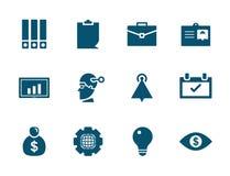 Vector bedrijfsbureau en geldpictogramreeks vector illustratie