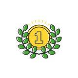 Vector bedrijfsillustratie van gouden medaille met bladerenpictogram in vlakke lijnstijl Royalty-vrije Stock Afbeeldingen