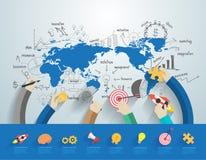 Vector bedrijfsmensen die concept van het bureau het collectieve team werken Royalty-vrije Stock Afbeelding