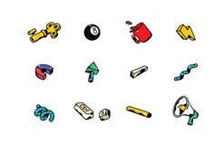Vector bedrijfspictogrammen op bureauthema Kentekens voor kentekens Emblemen, kentekens voor de collectieve identiteit van het be royalty-vrije illustratie