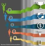 Vector Bedrijfssucces met zakenmanpictogrammen Royalty-vrije Stock Afbeeldingen