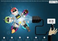 Vector bedrijfsuitwisselings van ideeënideeën met lampen, taak, leveraging Notitieboekje, Tablet, dossiers, agenda's En een kop v Royalty-vrije Stock Foto's