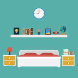 Vector of Bedroom flat design Royalty Free Stock Photography