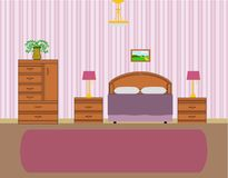 Vector of bedroom interior Stock Images