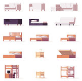 Vector beds and sofas set Stock Image