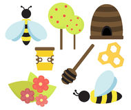 Vector bee and honey illustration cute set Royalty Free Stock Photo