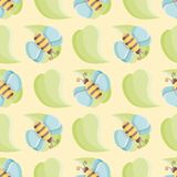 Vector bee over leaf seamless pattern over yellow background vector illustration