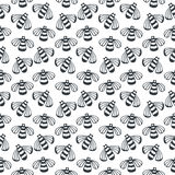Vector Bee seamless black and white pattern. Concept for honey package design, wrapping and fashion prints. Stock Photos