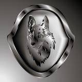 Vector beeld Één zilveren schildsymbool van de wolf Stock Afbeelding