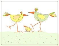 Vector beeld met kippenfamilie stock illustratie