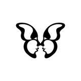 Vector beeld van een vlinder Twee het kussen gezichten Stock Fotografie
