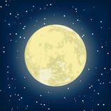 Vector beeld van maan in de nacht. EPS 8 Stock Fotografie