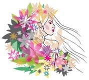 Mooi meisje met bloemenportret Royalty-vrije Illustratie
